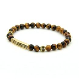tiger eyes bracelet 2019 - Fashion Men & Women Jewelry Wholesale 6mm A Grade Tiger Eye Stone Micro Inlay Black CZ Tube Beaded Bracelets cheap tiger