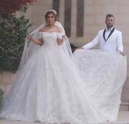 Barato Laço Acima Da Catedral-Glamorous Lace Ball Gown Vestidos de casamento Lace-Up Off-Shoulder Cathedral Train Dubai Vestidos Princesa Mangas Branco Marfim Plus Size