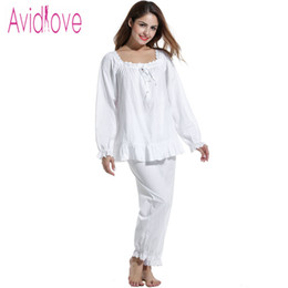 1fb5645a81 Wholesale- Avidlove Women Nightgown British Vintage Cotton Sleepwear Casual  White Pajama for Women 2Pieces Long Sleeve Blouse   Loose Pants