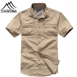 Barato Tees Secos Atacado-Wholesale-2016 Men's Fishing Shirts Coolmax Outdoor Shirt Quick Dry Stand Collar Tee 3 Color Men T-Shirts respirável Hiking Camping Shirt