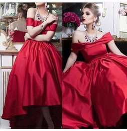 New fashioN special occasioN dresses online shopping - New Red Long Satin A Line Evening Dresses Off Shoulder Evening Gowns Floor Length Formal Women Special Occasion Dress Custom Made