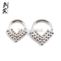 Indian Nose Piercing NZ - New Arrival Septum Clicker 16G Brass Triangle Shape Tribal Indian Nose Piercing Jewelry Lot of 10pcs Free Shipping