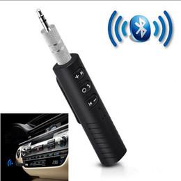 Toptan satış Bluetooth Alıcısı Araba Aux Ses Adaptörü Mini Kablosuz Eller-Serbest Araba Müzik Kiti Ev Araba Stereo Sistemi için Kablolu Kulaklıklar