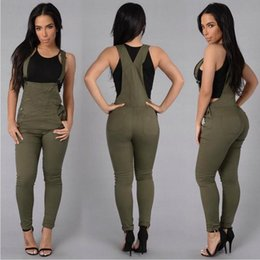 Mono Del Ejército Verde Baratos-Jeans overoles 2016 Hot Summer Style mujeres Denim Jeans mamelucos y mono Casual Army Green White Party Club Jeans mono