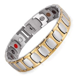 $enCountryForm.capitalKeyWord NZ - Healing Magnetic Bracelet Men Woman 316L Stainless Steel 5 Health Care Elements Gold Bracelets & Bangles Hand Chain OSB-1350SG