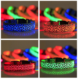 Ring night online shopping - Leopard Pattern Dog Leashes Night Safety LED Light Pet Collar Nylon Metal Ring Fastener Flash Dogs Necklet Popular hr B