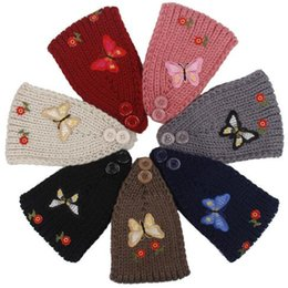 Wholesale 7 Colors Women Winter Ears Headbands Knitted Turban Headwrap Embroidery Butterfly Flowers Crochet Headband Hair Accessories CCA6961