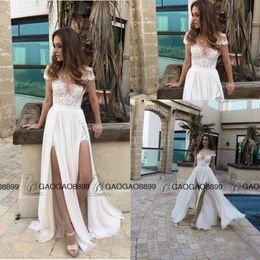 $enCountryForm.capitalKeyWord Canada - 2019 Berta Lace Chiffon Elegant Split Summer Beach A-line Wedding Dresses Custom Make Sheer Cap Sleeve Cheap Bridal Wedding Gown
