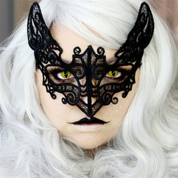 Barato Máscara De Gato Cosplay-Black Sexy Lady Lace Cat Mask para Cosplay Eyes Half Face Masks Mulher Queen Masquerade Festa Fancy Dress Costume / Halloween Party Fancy