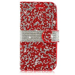 Wholesale Hybrid Bling Rhinestone Diamond PU Leather Wallet Cover Phone Case Credit Card Slot for LG K10 Aristo X210 Optimus Zone VS425