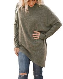 Shirt Poncho Australia - Womens Asymmetric Long Sleeve Sweater Girls Long Batwing Sleeves Turtleneck Pullovers Tops Faux Poncho Knitwear T-shirt