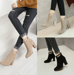 $enCountryForm.capitalKeyWord Canada - Women's Shoes Suede Leather Fall Winter Warm Upper Middle Spool Heel Closed Toe Spool Heel Pumps Free Shipping Wedding Bridal Shoes