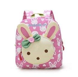 wholesale baby book bags Canada - Lovely Cute Kids School Bags Rabbit Bear Dolls Applique Canvas Backpack Mini Baby Toddler Book Bag Kindergarten Rucksacks