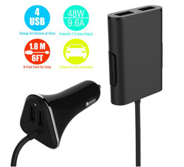 chinese cars Canada - New Car quick Charger 9.6A 4 USB Ports Passenger Car Charger with Extending USB HUB 1.8M Cable for smartphones