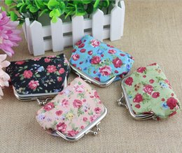 baby girl mini handbag 2019 - Fashion Vintage Flower Coin Purse Canvas Package Baby Girls Beautiful Mini Coin Bag Kids Printed Clutch Handbag 12pcs lo