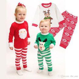 Dhl styles clothing online shopping - Christmas pajamas sets Santa Sleeping clothing Boys Girls Christmas Santa Pajamas Set striped Pyjamas Kids Spring Autumn Free DHL