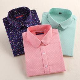 plus size white button down shirt 2019 - Wholesale- 2017 Plus Size Polka Dot Cotton Women Blouses Shirts Long Sleeve Women Shirts Turn Down Collar Cotton Casual