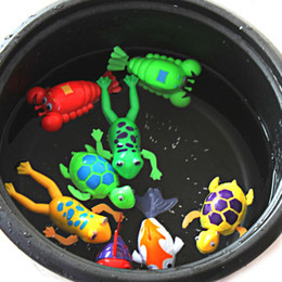 Pink Toy Fish Canada - Cute Funny Wind-Up Clockwork Bath Toys Animals Frog Fish Baby Shower Swimming Pool For Baby Kids Randomly
