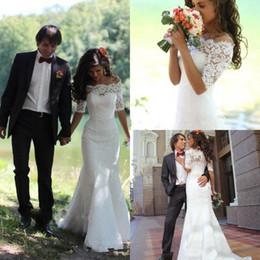 2019 vestidos de novia de encaje completo sirena fuera del hombro media manga barrido tren vestidos de novia para la boda barato por encargo en venta