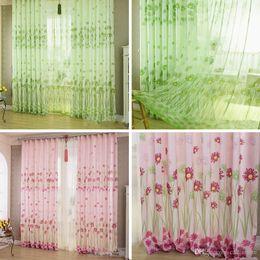 1Pc Home Sunflower Printed Curtains Short Curtain Window Curtain Drape  Panel Sheer Curtains E00623 FASH