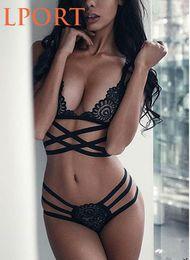 Großhandel Sexy Dessous BH Set Wirefree Spitze Kreuz Gürtel hohlen weiblichen Mode-BH Unterwäsche Sommer Intime heißer Verkauf Stil