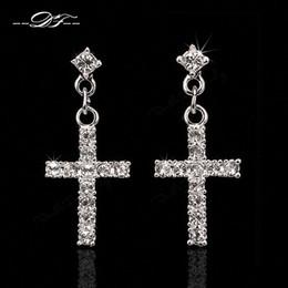 $enCountryForm.capitalKeyWord Canada - Elegant Cross CZ Diamond Party Drop Earrings Wholesale 18K Rose Gold Platinum Plated Punk Wedding Jewelry For Women DFE373   DFE328