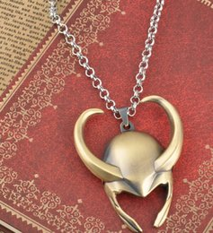 superhero necklaces NZ - New Superhero Thor The Dark World Loki Helmet necklace Avengers Vintage Men's Necklaces Gold color Movie Jewelry men's Gifts