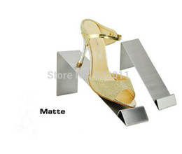 Steel Show Canada - Matte surface stainless steel shoes holder support keeper metal shoe showing display rack stand