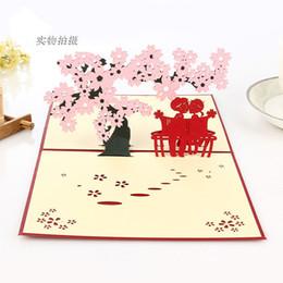 hot romantic cherry blossom trees postcard cherry blossom festival blessing stereoscopic 3d handmade greeting cards love tour