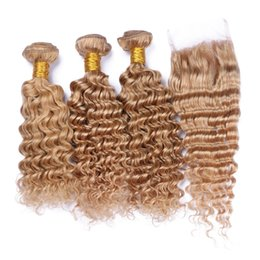 Chinese  Hot Sale #27 Deep Curly Hair Weaves With Lace Closure 9A Brazilian Human Hair Deep Wave Human Hair 3 Bundles With Lace Closure manufacturers