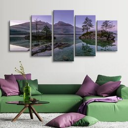 Art Canvas Prints Canada - 5 pieces high-definition print landscape canvas oil painting poster and wall art living room picture PL5-202