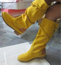 Booties heels for women online shopping - Fashion Brand White Yellow Boots For Women Suede Casual Women Flat Boots Shoes Big Size Rivets Knee High Booties Slip On Gladiator Boots