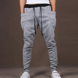 mens drop crotch sweats 2019 - Wholesale-Mens Joggers Casual Slim Fit Skinny Harem Pants Men Drop Crotch Sweat Pants Trousers Sarouel Homme Pantalon wi