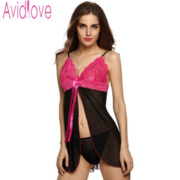 e50926342def1 Avidlove Hot Sexy Women Exiotic Lingerie Babydolls Sexy See-through Lace  Sleep Dress Sexy Costumes Pajamas with G-string U2