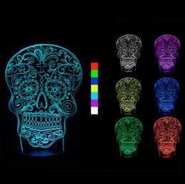 $enCountryForm.capitalKeyWord NZ - New Skull 3D Optical Illusion Night Lamps 10 Colorful LEDs Ultra-thin Acrylic Light Panel Battery or DC 5V Factory Wholesale
