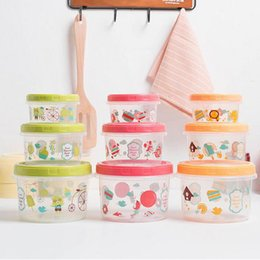 3pcs set cartoon food containers with lid reusable plastic container round food storage boxes bins za4802