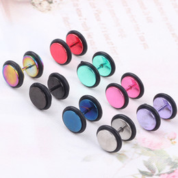 $enCountryForm.capitalKeyWord Canada - Unisex Stainless steel Fake Ear Plug Tunnel Stretcher Ear Expander Expansion Stud Earrings Cheater piercing jewelry 100Pcs mix colors
