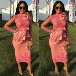 $enCountryForm.capitalKeyWord Australia - African Lace Appliques Prom Dresses With Handmade Flower Sheer Long Sleeves Tea Length Evening Gowns Chiffon Ruffles Peplum Party Dress