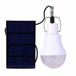 Discount lamp for camping - Wholesale-1500mah Lithium Battery Rechargeable Solar Powered LED Bulb Lamp+Solar Panel for Fishing Camping Home Emergenc