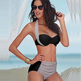 Plus Sized Bikini Tops Canada - 2016 Sexy Plus Size Swimwear High Waist Bikinis Set Top Push Up Strapless Halter Surf Flirt Bathing Suit Beach Wear