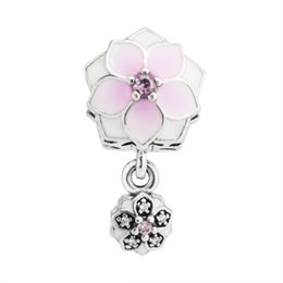 $enCountryForm.capitalKeyWord UK - Pink Enamel Magnolia Bloom Dangle Charms Beads Authentic 925 Sterling-Silver-Jewelry Crystal Flower Bead For DIY Bracelets Accessories
