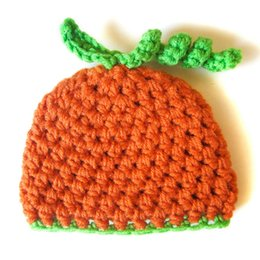 newborn pumpkin hat UK - Handmade Crochet Baby Boy Girl Orange Bright Green Pumpkin Hat,Infant Halloween Costume,Newborn Baby Beanie Cap,Photography Prop