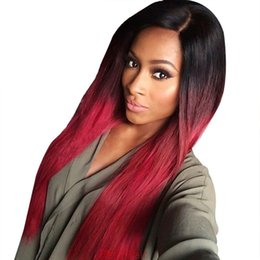 Discount peruvian two tone red hair - Red Ombre Brazilian Human Hair Glueless Full Lace Wigs Silky Straight Two Tone Lace Front Wigs 130 Density