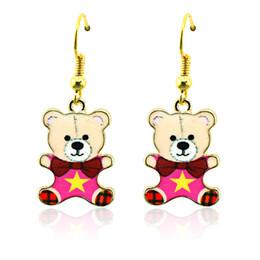 Enamel Bear Charms Canada - Fashion Bohemian Charms Earrings Stainless Steel Hooks Dangle Colorful Enamel Gold Plated Bear Earrings For Women Jewelry