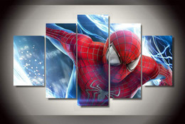 $enCountryForm.capitalKeyWord NZ - 5Pcs With Framed Printed the amazing spider man Group Painting children's room decor print poster picture canvas contemporary wall art