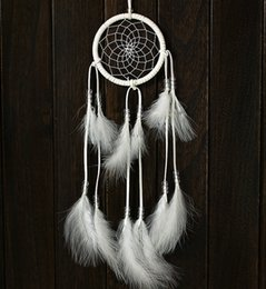 $enCountryForm.capitalKeyWord Canada - Handmade Dream Catcher Dreamcatcher White Feather Clear Bead Wall Hanging Car Decoration Ornament Best Gift For Kid B954L