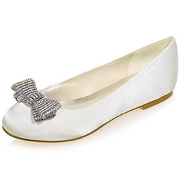 $enCountryForm.capitalKeyWord Canada - Women's Satin Wedding Bridal Shoes Round Toe Evening Prom Party Flats with Bows ZXF9872-25
