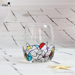 Art Paintings India Canada - Custom hand-painted short lead-free glass cup