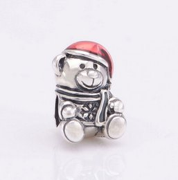 Enamel Bear Charms Canada - Fits Original Pandora Bracelets TEDDY BEAR SILVER CHARM WITH RED AND GREEN ENAMEL DIY Beads Real Solid 925 Sterling Silver Not Plated