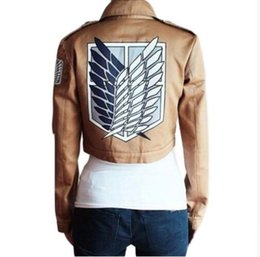 Shingeki Kyojin Titan Cosplay Pas Cher-Attaque sur les ailes de titan de Liberty Cultures Coat Shingeki No Kyojin Scouting Legion Uniforme Costume Cosplay Khaki Jacket